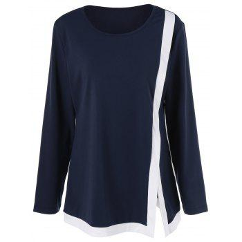 Side Slit Two Tone Plus Size Tee