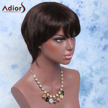 Short Straight Side Bang Synthetic Wig - BLACK