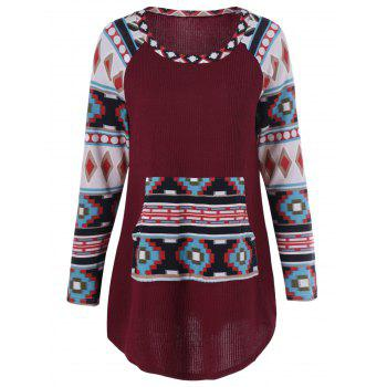 Raglan Sleeve Colorful Print Tee