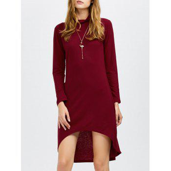 Long Sleeves Turtleneck Asymmetric Dress