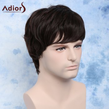 Fluffy Wavy Dark Brown Synthetic Handsome Short Side Bang Capless Wig For Men - DEEP BROWN