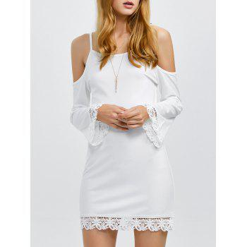 Cold Shoulder Lace Insert Mini Dress