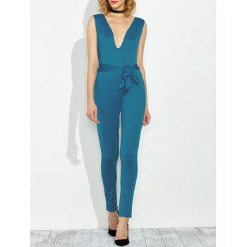 Sleeveless Low Cut Belted Jumpsuit