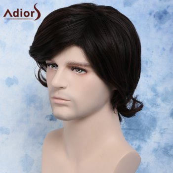 Perruque Trendy Dark Brown Side Bang synthétique Fluffy Wavy Anti Alice Cheveux Hommes - Brun Foncé