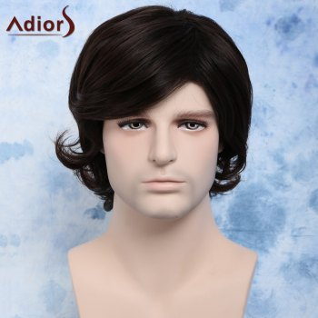 Trendy Dark Brown Side Bang Synthetic Fluffy Wavy Anti Alice Hair Men's Wig