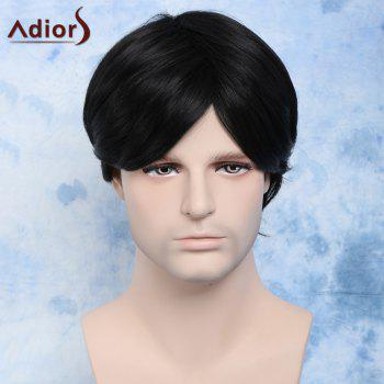 Buy Vogue Short Side Bang Capless Handsome Natural Black Straight Synthetic Wig Men BLACK