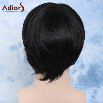 Vogue Short Side Bang Capless Handsome Natural Black Straight Synthetic Wig For Men - BLACK
