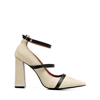 Buy Zipper Chunky Heel Strappy Pumps LIGHT KHAKI