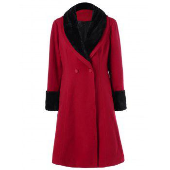 Plus Size Shawl Collar Two Tone Coat