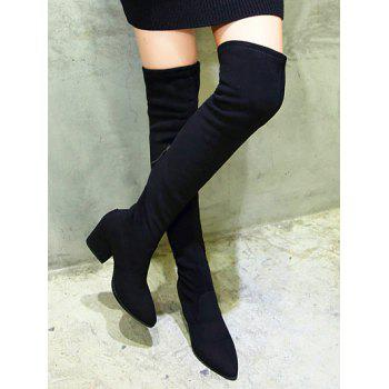 Pointed Toe Zip Chunky Heel Thigh Boots - 38 38