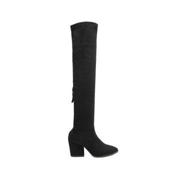 Pointed Toe Zip Chunky Heel Thigh Boots