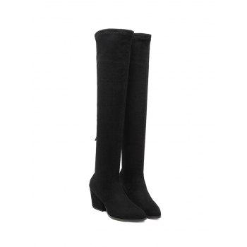 Pointed Toe Zip Chunky Heel Thigh Boots - BLACK 38