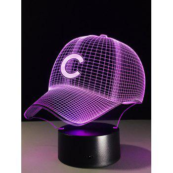LED 3D Visual Color Change Baseball Cap Touch Night Light - COLORFUL
