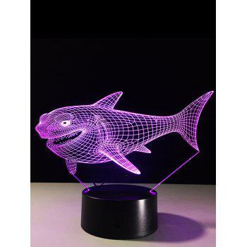 3D Visual Shark 7 Color Changing Touch LED Table Night Light - COLORFUL