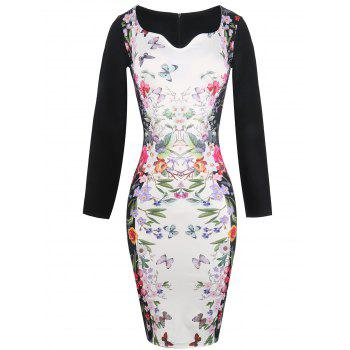 Long Sleeve Butterfly Painting Fitted Dress