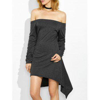 Long Sleeve Off The Shoulder Asymmetric Dress