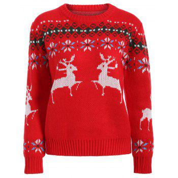 Fawn Graphic Christmas Textured Sweater