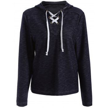 Lace-Up Drawstring Pullover Hoodie