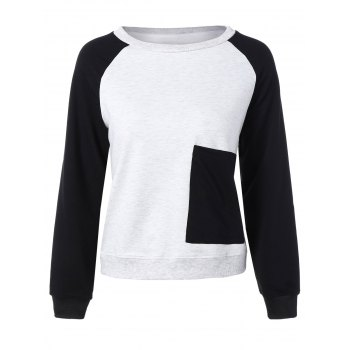 Crew Neck Color Block Baseball Sweatshirt