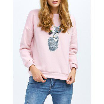 Crew Neck Patched Pullover Sweatshirt