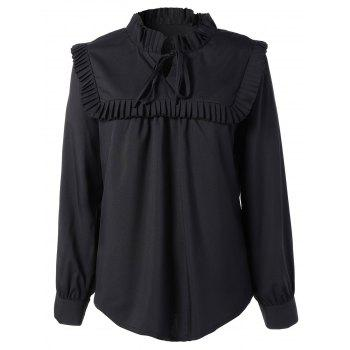Plus Size Pleated Self Tie Blouse