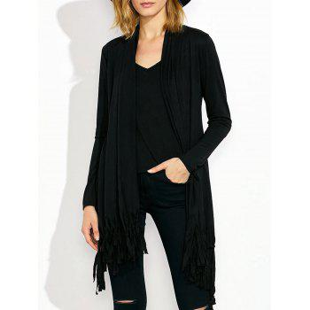 Collarless Fringed Asymmetric Cardigan