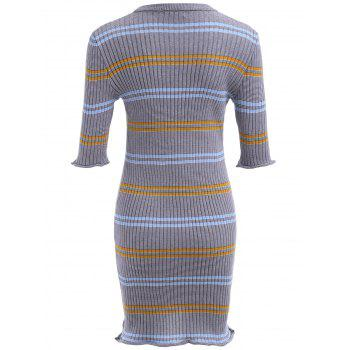 Striped Ribbed Bodycon Sweater Dress - GRAY S
