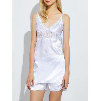 Lace Panel Satin Cami Summer Pajamas Set