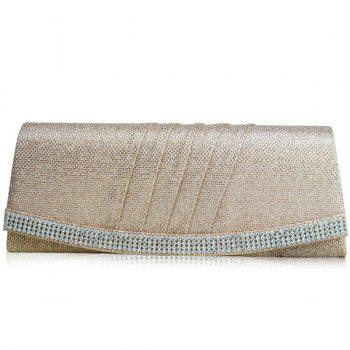 Pleated Rhinestone Clutch Bag
