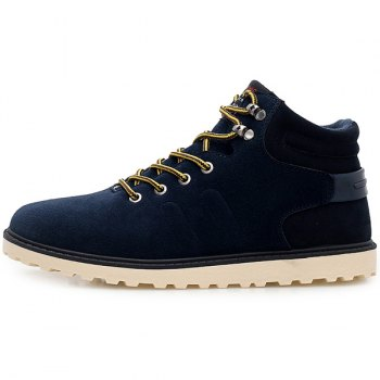 Eyelets Lace Up Suede Short Boots - DEEP BLUE 43