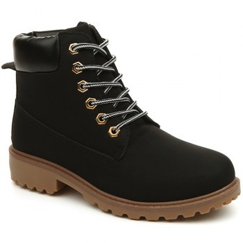 Round Toe Lace Up Eyelets Short Boots