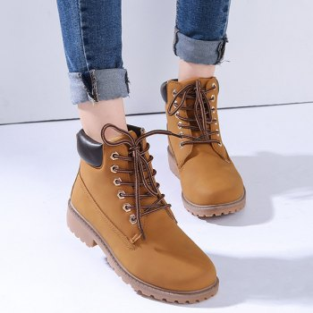 Round Toe Lace Up Eyelets Short Boots - EARTHY 43