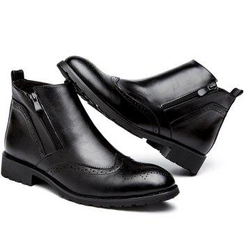 Retro Engraving PU Leather Short Boots - BLACK 42