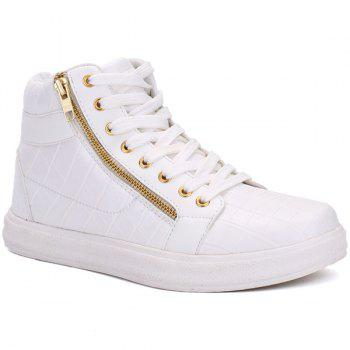 High Top Side Zip Embossed Casual Shoes