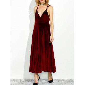 Low Cut Backless Velour Slip Dress