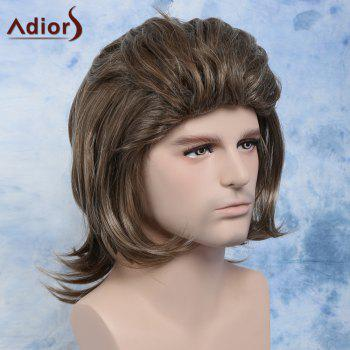 Men Fluffy Full Bang Mixed Color Mullet Hairstyle Cosplay Synthetic Wig - COLORMIX