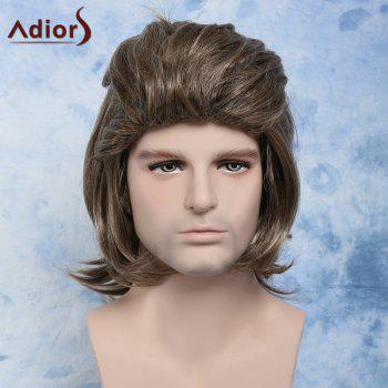 Men Fluffy Full Bang Mixed Color Mullet Hairstyle Cosplay Synthetic Wig