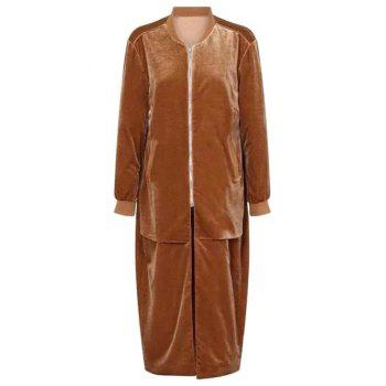 Stand Neck Pleuche Long Coat