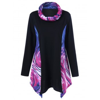 Buy Plus Size Tie-Dye Asymmetrical T-Shirt BLUE/PINK