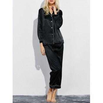 Lapel Silk Nightwear Capri Pajamas Set