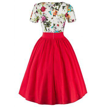 Single Breasted Floral 1950s Swing Dress Red S In