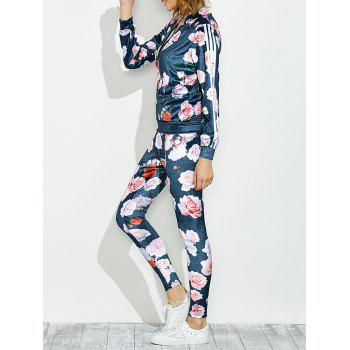 Zippered Jacket and Floral Printed Pants - BLUE XL