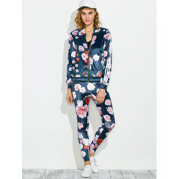 Zippered Jacket and Floral Printed Pants - BLUE L