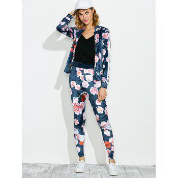 Zippered Jacket and Floral Printed Pants - BLUE S