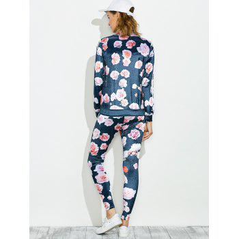 Zippered Jacket and Floral Printed Pants - BLUE BLUE