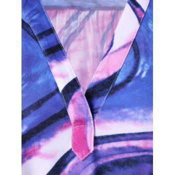 V Neck Tie Dye Plus Size Tee - COLORMIX 3XL
