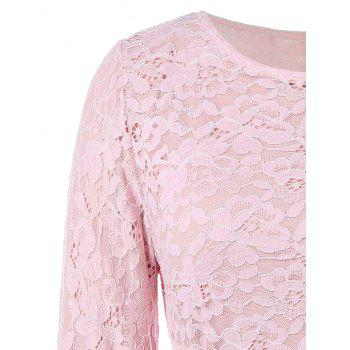 Fit and Flare Lace Long Sleeve Dress - PINK 3XL