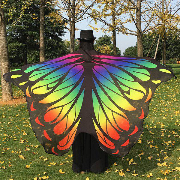 Gradient Color Chiffon Butterfly Wing Cape Pashmina - YELLOW