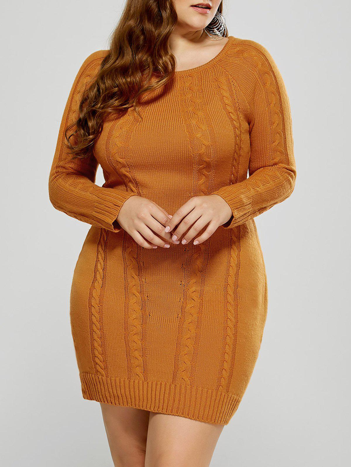 Mini-robe  chandail Knit câble graende taill - Mandarin 3XL