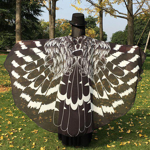 Feather Printed Chiffon Butterfly Wing Cape - BLACK